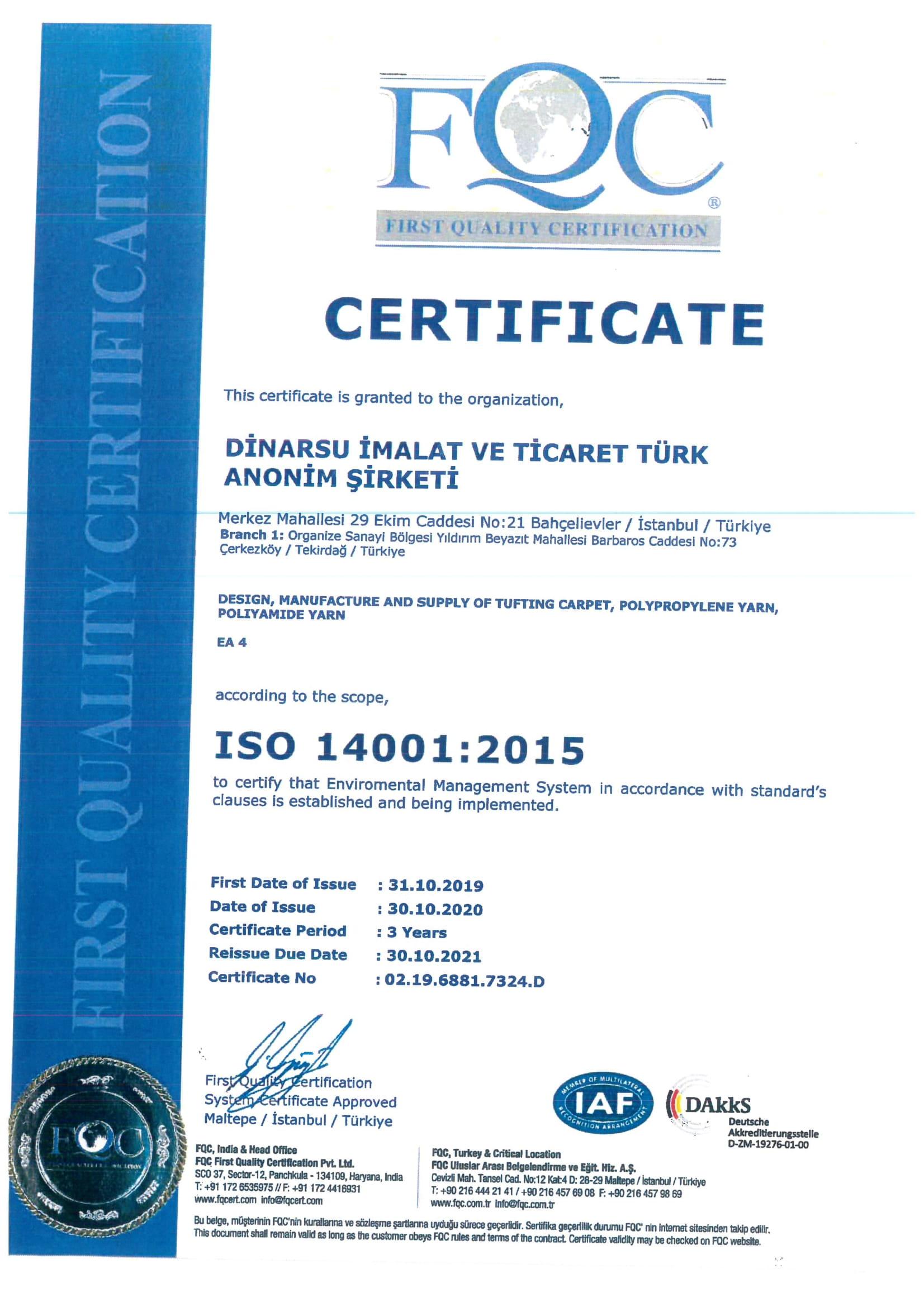 ISO 14001.2015 Sertifika 2021