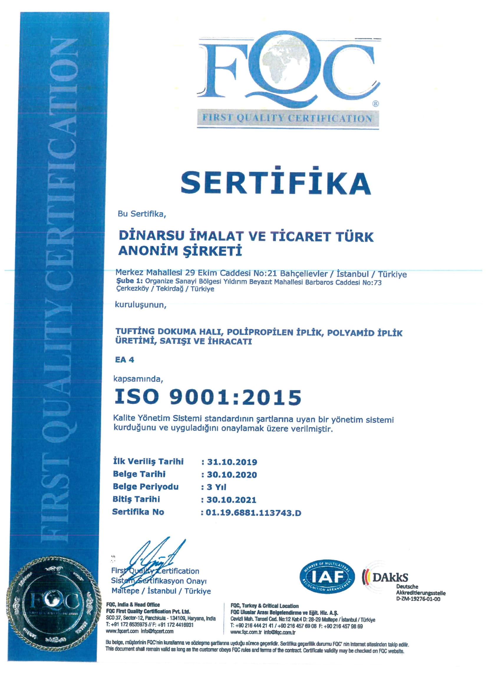 ISO 9001.2015 Sertifika 2021 – 1
