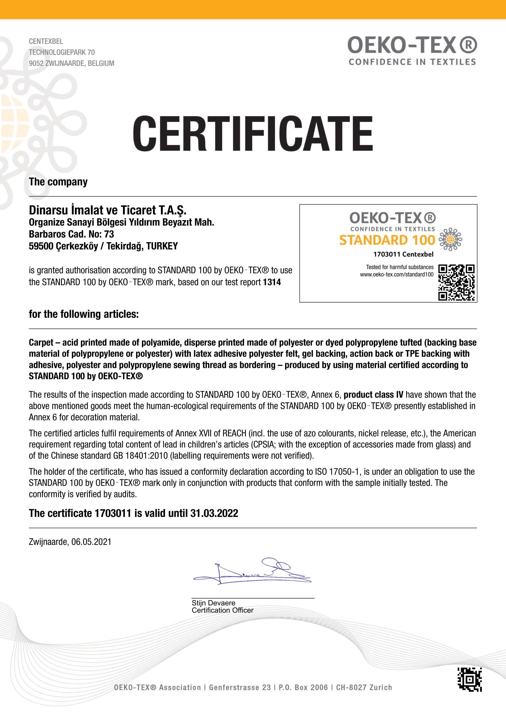 Oeko Tex Sertifikası 2021