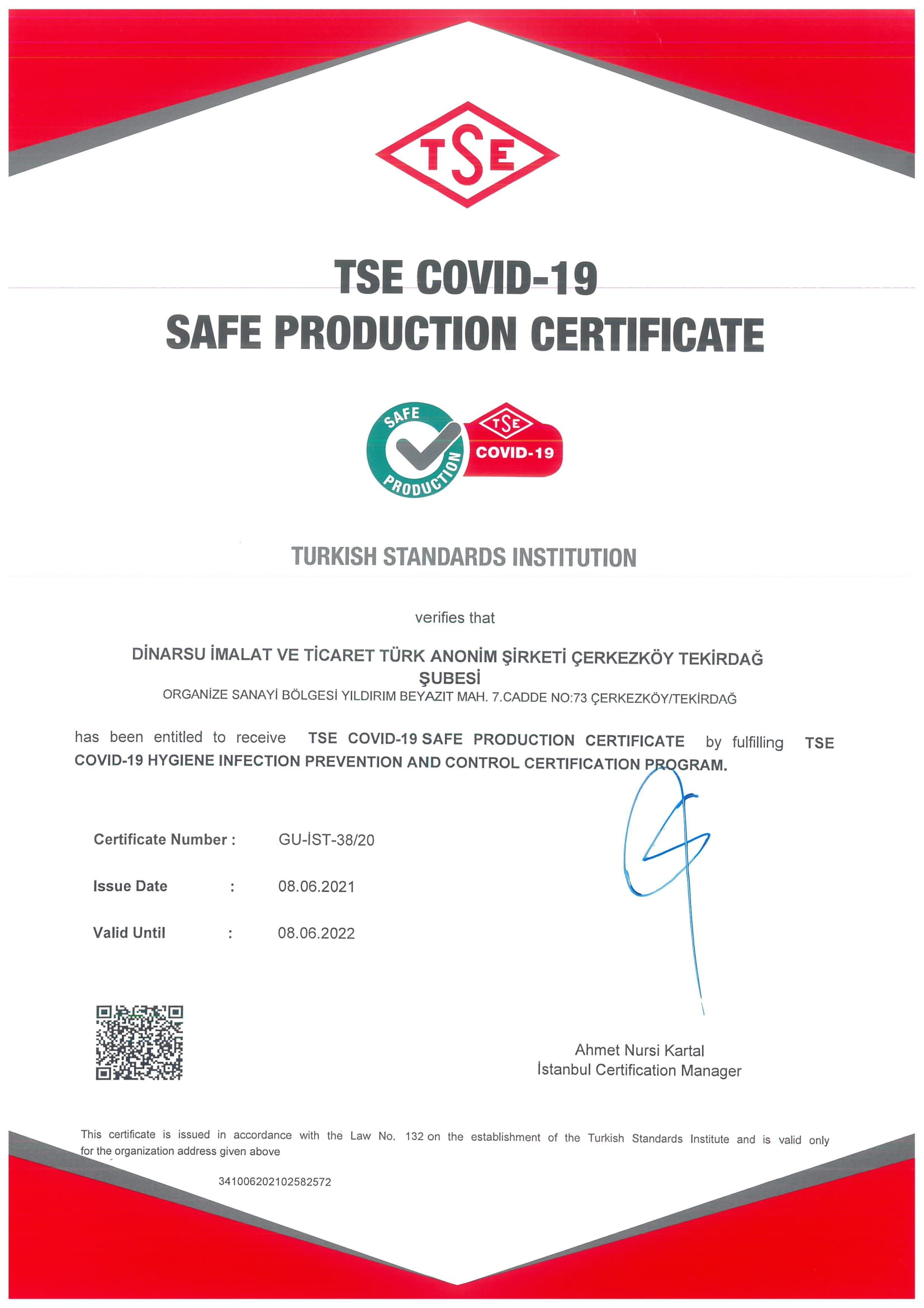TSE COVID BELGESİ 2021